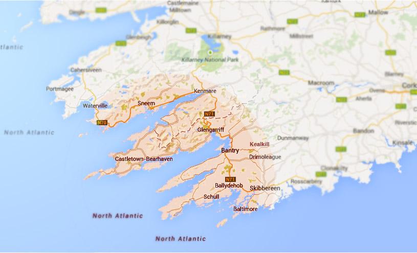 Beara Oil Coverage Map